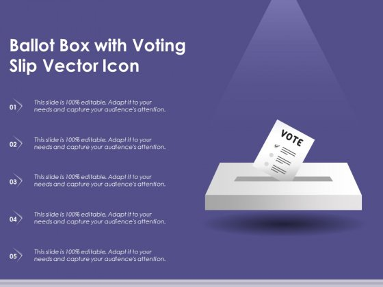 Ballot Box With Voting Slip Vector Icon Ppt PowerPoint Presentation Infographic Template Structure PDF