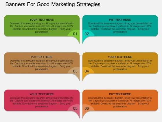 Banners For Good Marketing Strategies Powerpoint Template
