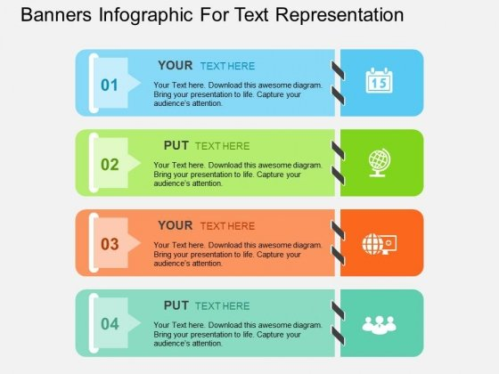 Banners Infographic For Text Representation Powerpoint Templates