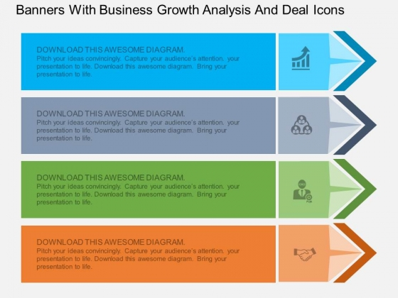Banners With Business Growth Analysis And Deal Icons Powerpoint Template
