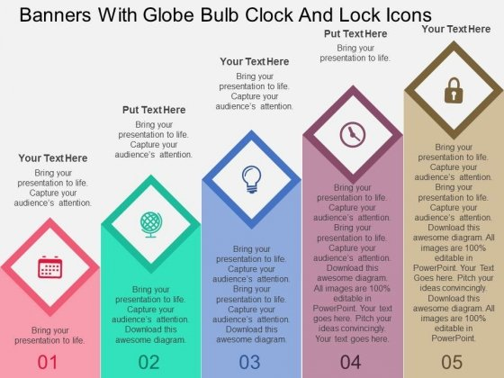 Banners With Globe Bulb Clock And Lock Icons Powerpoint Templates