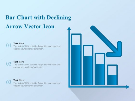 Bar Chart With Declining Arrow Vector Icon Ppt PowerPoint Presentation Show Designs Download