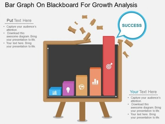 Bar Graph On Blackboard For Growth Analysis Powerpoint Template