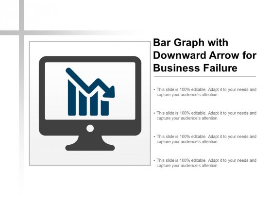 Bar Graph With Downward Arrow For Business Failure Ppt PowerPoint Presentation Inspiration Graphics