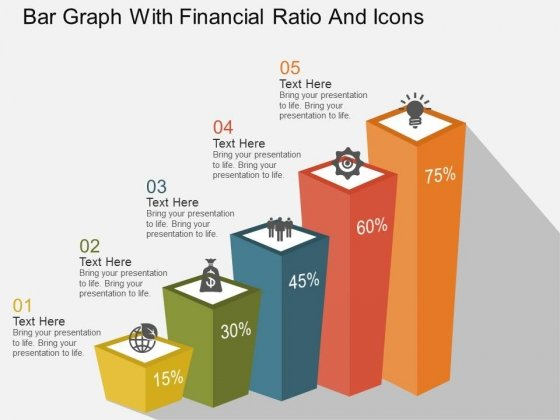 Bar Graph With Financial Ratio And Icons Powerpoint Template