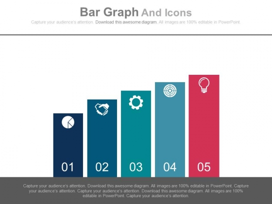 Bar Graph With Five Icons Powerpoint Slides