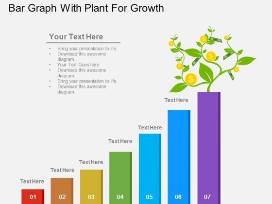 Bar Graph With Plant For Growth Powerpoint Template