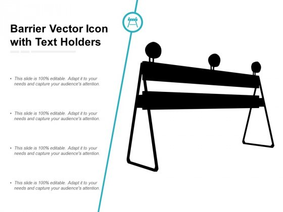 Barrier Vector Icon With Text Holders Ppt Powerpoint Presentation Graphics