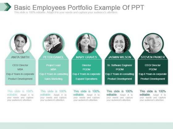 Basic Employees Portfolio Example Of Ppt