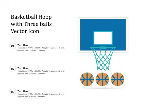 Basketball Hoop With Three Balls Vector Icon Ppt PowerPoint Presentation Show Rules PDF