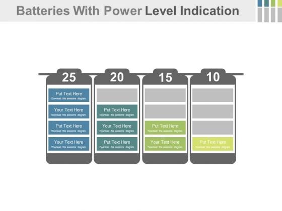 Batteries With Four Progressive Steps Powerpoint Slides