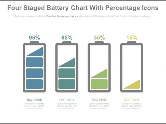 Battery Chart With Percentage Values For Comparison PowerPoint Slides