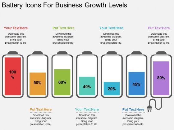 Battery Icons For Business Growth Levels Powerpoint Template
