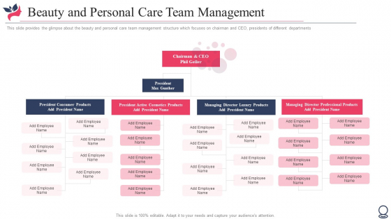 Beauty And Personal Care Team Management Ppt Slides Visuals PDF