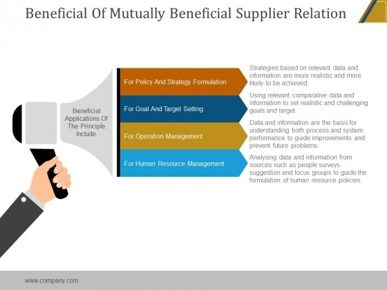 Beneficial Of Mutually Beneficial Supplier Relation Ppt PowerPoint Presentation Ideas