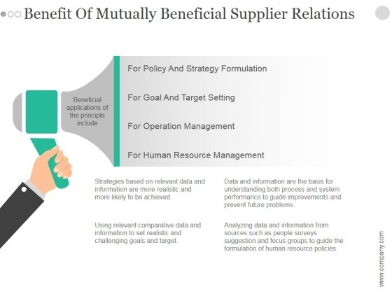 Benefit Of Mutually Beneficial Supplier Relations Ppt PowerPoint Presentation Example File