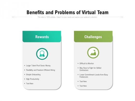 Benefits And Problems Of Virtual Team Ppt PowerPoint Presentation Gallery Graphic Tips PDF