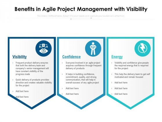 Benefits In Agile Project Management With Visibility Ppt PowerPoint Presentation Gallery Microsoft PDF