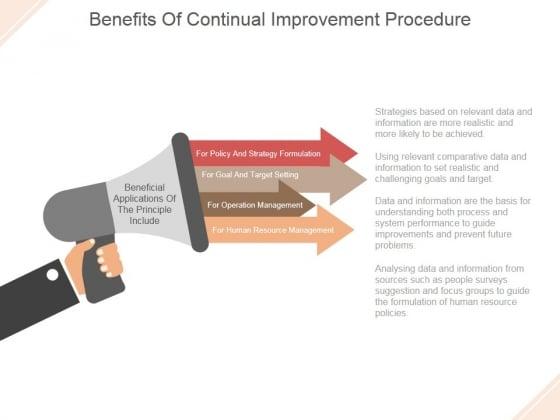 Benefits Of Continual Improvement Procedure Ppt PowerPoint Presentation Show