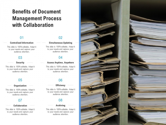 Benefits Of Document Management Process With Collaboration Ppt PowerPoint Presentation Gallery Examples PDF