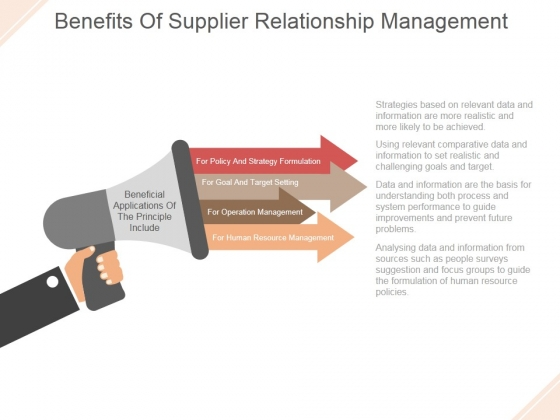 Benefits Of Supplier Relationship Management Ppt PowerPoint Presentation Layout