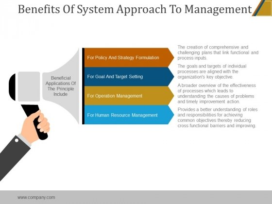 Benefits Of System Approach To Management Ppt PowerPoint Presentation Visuals