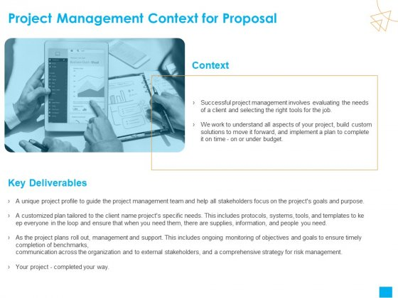 Benefits Realization Management Project Management Context For Proposal Icons PDF