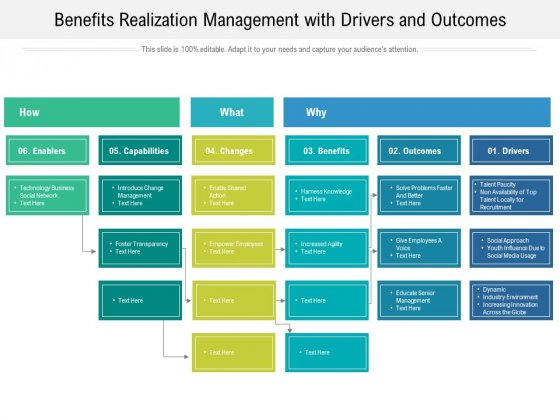 Benefits Realization Management With Drivers And Outcomes Ppt PowerPoint Presentation Layouts Pictures PDF