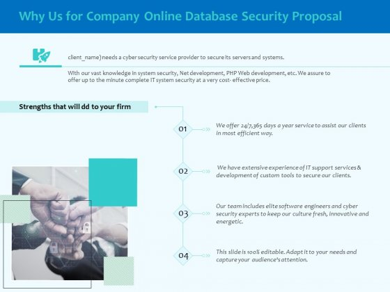 Best Data Security Software Why Us For Company Online Database Security Proposal Themes PDF