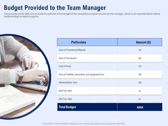 Best Employee Appreciation Workplace Budget Provided To The Team Manager Themes PDF
