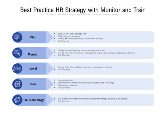 Best Practice HR Strategy With Monitor And Train Ppt Show Master Slide PDF