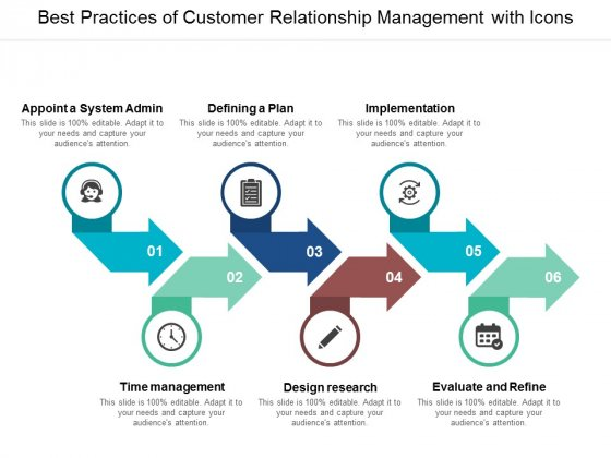 Best Practices Of Customer Relationship Management With Icons Ppt Powerpoint Presentation Model Show