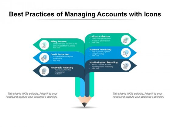 Best Practices Of Managing Accounts With Icons Ppt PowerPoint Presentation Professional Slide Portrait