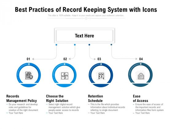 best practices of record keeping system with icons ppt powerpoint presentation icon vector