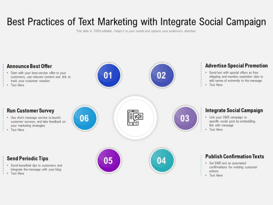 Best Practices Of Text Marketing With Integrate Social Campaign Ppt PowerPoint Presentation File Slide PDF