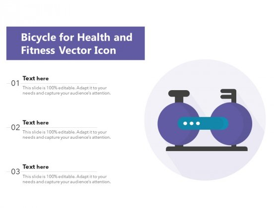 Bicycle For Health And Fitness Vector Icon Ppt PowerPoint Presentation Ideas Background Image PDF