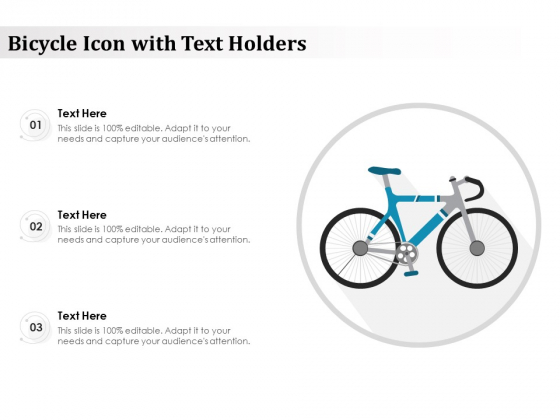 Bicycle Icon With Text Holders Ppt PowerPoint Presentation Gallery Summary PDF