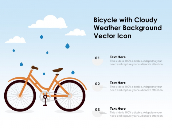 Bicycle With Cloudy Weather Background Vector Icon Ppt PowerPoint Presentation Infographics Styles PDF