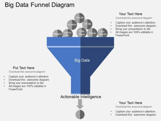Big Data Funnel Diagram Powerpoint Templates