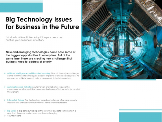 Big Technology Issues For Business In The Future Ppt PowerPoint Presentation Gallery Clipart Images PDF