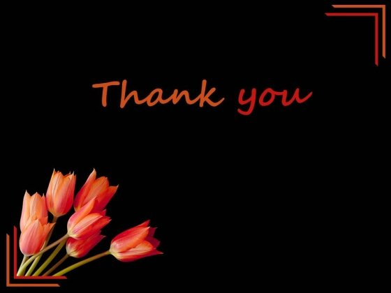 Black Background Lily Flower Thank You PowerPoint Slides