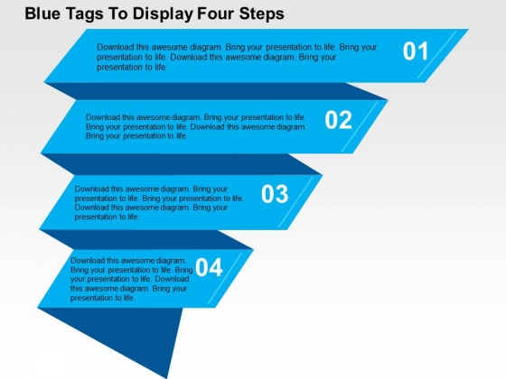 Blue Tags To Display Four Steps Powerpoint Templates
