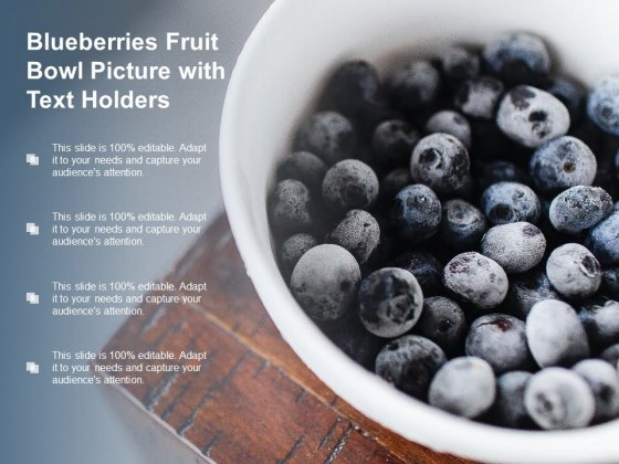 Blueberries Fruit Bowl Picture With Text Holders Ppt Powerpoint Presentation Outline Format