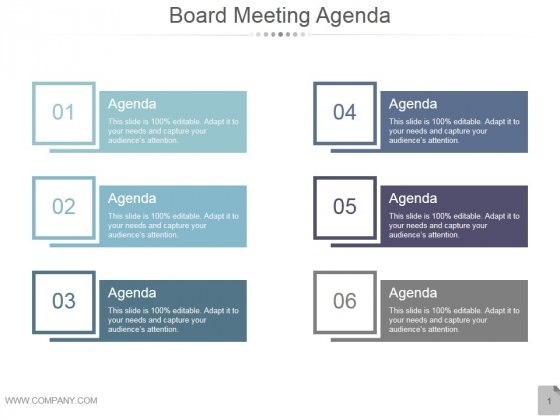 Board Meeting Agenda Ppt PowerPoint Presentation Infographic Template