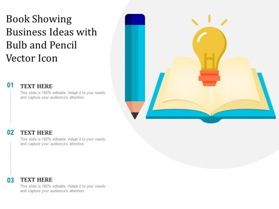 Book Showing Business Ideas With Bulb And Pencil Vector Icon Ppt PowerPoint Presentation Gallery Layout Ideas PDF
