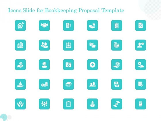 Bookkeeping Icons Slide For Bookkeeping Proposal Template Ppt PowerPoint Presentation Styles File Formats PDF
