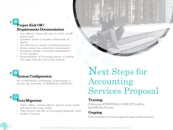 Bookkeeping Next Steps For Accounting Services Proposal Ppt PowerPoint Presentation Pictures Tips PDF
