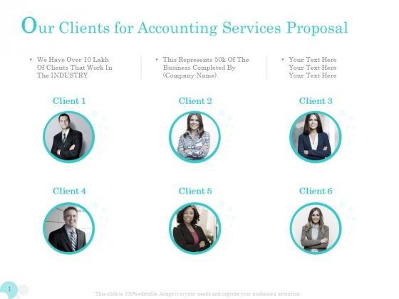Bookkeeping Our Clients For Accounting Services Proposal Ppt PowerPoint Presentation Infographic Template Graphics PDF