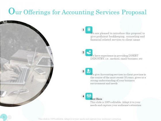 Bookkeeping Our Offerings For Accounting Services Proposal Ppt PowerPoint Presentation Layouts Slideshow PDF