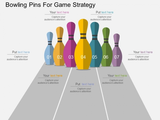 Bowling Pins For Game Strategy Powerpoint Templates